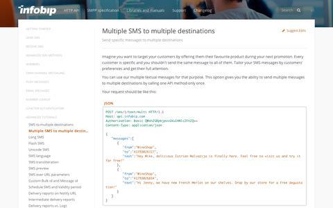 Multiple SMS to multiple destinations · SMS API | Infobip