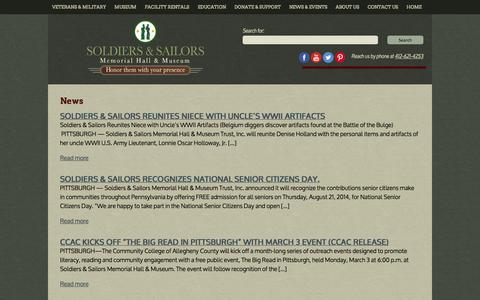 Screenshot of Press Page soldiersandsailorshall.org - Soldiers & Sailors Memorial Hall & Museum  » News - captured Oct. 6, 2014