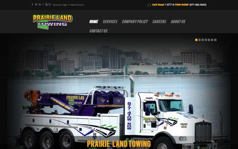 Screenshot of Home Page plt-wi.com - Prairie Land Towing - captured June 19, 2015
