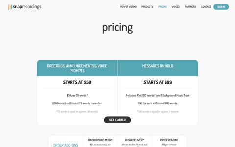 Screenshot of Pricing Page snaprecordings.com - Professional Voice Recording Pricing   Snap Recordings - captured June 16, 2017