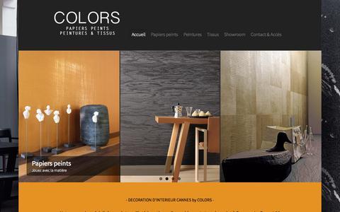 Screenshot of Home Page peintures-tissus-colors.com - COLORS CANNES : Magasin de peinture, tissus et papier peint à Cannes - Le Cannet 06 - captured Sept. 4, 2015
