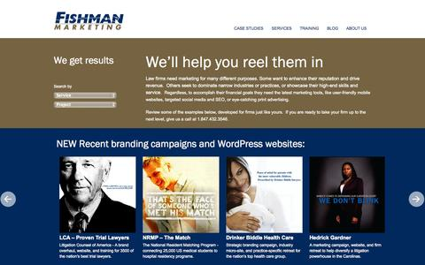 Screenshot of Case Studies Page fishmanmarketing.com - Results   Fishman Marketing. - captured Sept. 30, 2014