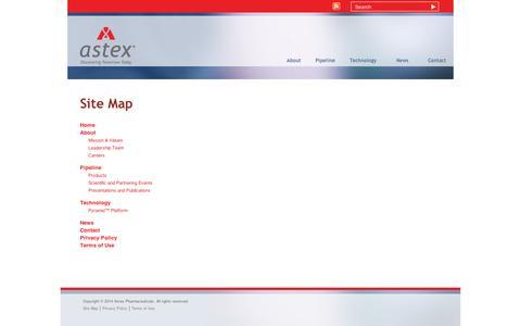 Screenshot of Site Map Page astx.com - Astex Pharmaceuticals | Site Map - captured Sept. 11, 2014