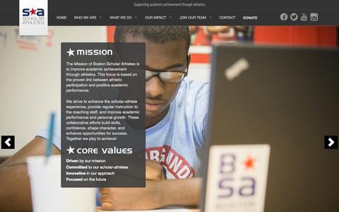 Screenshot of Home Page bostonscholarathletes.org - Welcome   Boston Scholar Athlete - captured Sept. 30, 2014