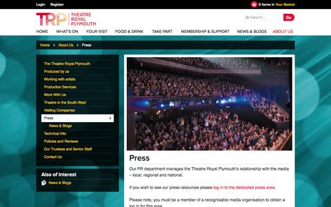 Screenshot of Press Page theatreroyal.com - Press - Theatre Royal Plymouth - captured Sept. 25, 2014