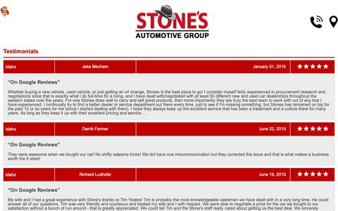 Screenshot of Testimonials Page stonescars.com - Customer Reviews, Testimonials - Stone's Town and Country Motors - captured Oct. 18, 2018