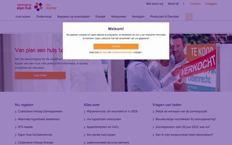 Screenshot of Home Page eigenhuis.nl - Sta sterker - Vereniging Eigen Huis - captured Sept. 23, 2018