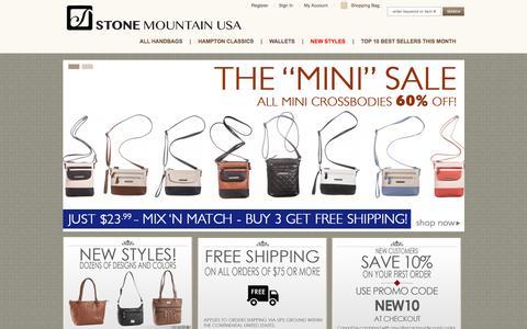 Screenshot of Home Page stonemountainhandbags.com - Stone Mountain Handbags Company Store |  Stone Mountain Handbags & Accessories - captured June 15, 2016