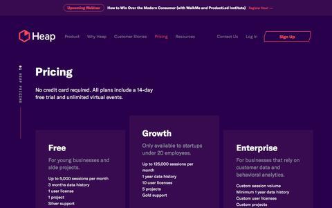 Screenshot of Pricing Page heap.io - Pricing - Heap - captured Nov. 7, 2019