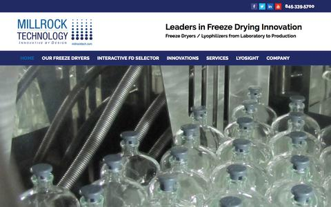 Screenshot of Home Page millrocktech.com - Millrock Technology | Freeze Dryers / Lyophilizers from Laboratory to Production - captured Nov. 3, 2017