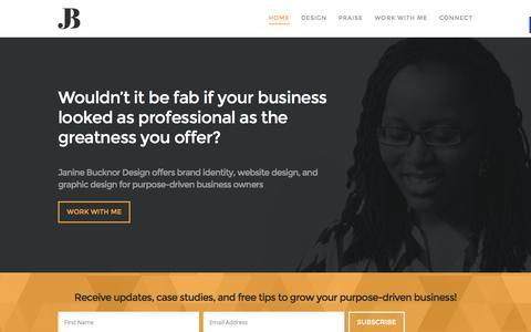 Screenshot of Home Page janinebucknor.co.uk - Janine Bucknor - Brand Identity, Website Design, Graphic Design - captured Jan. 21, 2015