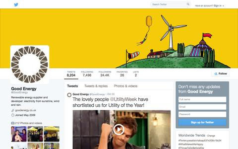 Screenshot of Twitter Page twitter.com - Good Energy (@GoodEnergy) | Twitter - captured Oct. 27, 2014