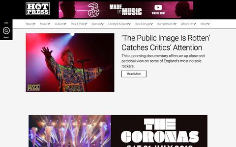Screenshot of Home Page hotpress.com - hotpress.com: music news, reviews, interviews plus pop culture and politics, - captured July 13, 2018