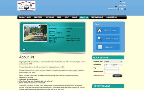 Screenshot of About Page cobaltrealtygroup.com - About Us - captured Oct. 3, 2014