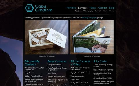 Screenshot of Services Page cabecreative.com - Wedding Services - Cabe Creative - captured Sept. 26, 2014