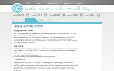 Screenshot of Terms Page chicagolandec.org - Legal Information - captured Oct. 2, 2014