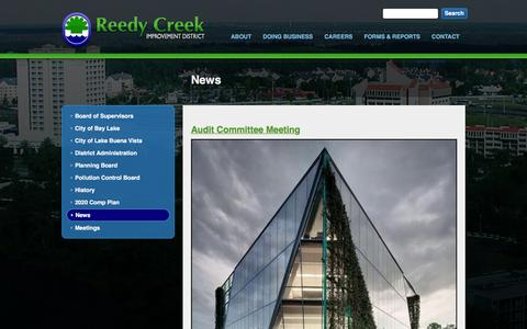 Screenshot of Press Page rcid.org - News | Reedy Creek Improvement District - captured Feb. 14, 2016
