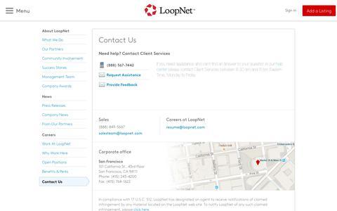 Screenshot of Contact Page loopnet.com - Contact us - LoopNet.com - captured April 27, 2019