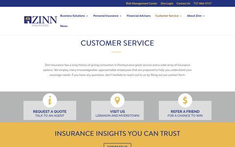 Screenshot of Support Page zinn.com - Customer Service | Risk Management Center | Zinn Insurance | Lebanon - captured Dec. 11, 2016
