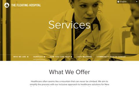 Screenshot of Services Page thefloatinghospital.org - The Floating Hospital   –  ServicesThe Floating Hospital - captured Aug. 15, 2015