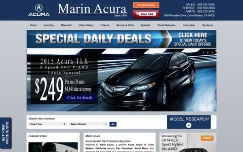 Screenshot of Home Page marinacura.com - Marin Acura | San Francisco Bay area Acura Dealer in Corte Madera, CA | Serving Santa Rosa & Concord California - captured Sept. 30, 2014