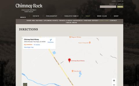 Screenshot of Maps & Directions Page chimneyrock.com - Chimney Rock - Directions - captured Oct. 31, 2019
