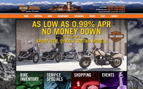 Screenshot of Home Page thundermountainharley.com - New and Used Harley Davidson Motorcycle Dealer - captured Oct. 9, 2014
