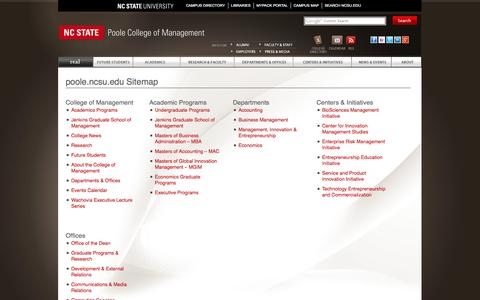 Screenshot of Site Map Page ncsu.edu - Sitemap of the Poole College of Management   North Carolina State University - captured Oct. 26, 2014