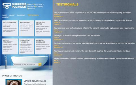 Screenshot of Testimonials Page supremeplumber.com - plumber waterbury   plumber southbury   water heater ct   supreme plumber - Testimonials - captured Sept. 22, 2019