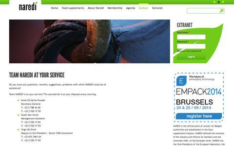 Screenshot of Contact Page naredi.be - Team Naredi at your service | Naredi - captured Oct. 5, 2014
