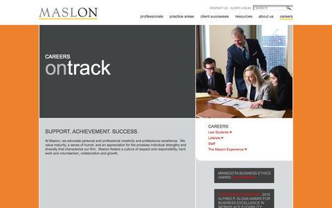 Screenshot of Jobs Page maslon.com - Careers - Maslon - captured Oct. 27, 2014