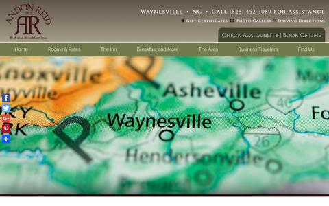 Screenshot of Contact Page Maps & Directions Page andonreidinn.com - Asheville Area Bed and Breakfast Lodging near Downtown Waynesville NC - captured July 2, 2018
