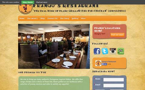 "Screenshot of Home Page frangos.co - Frango's Restaurant | ""The real home of flame-grilled Piri-Piri chicken"" 02476631960 - captured Oct. 6, 2014"