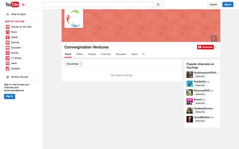 Screenshot of YouTube Page youtube.com - Convergination Ventures  - YouTube - captured Oct. 22, 2014