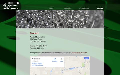 Screenshot of Contact Page austinmachine.net - Contact - Austin MachineAustin Machine - captured Sept. 30, 2014