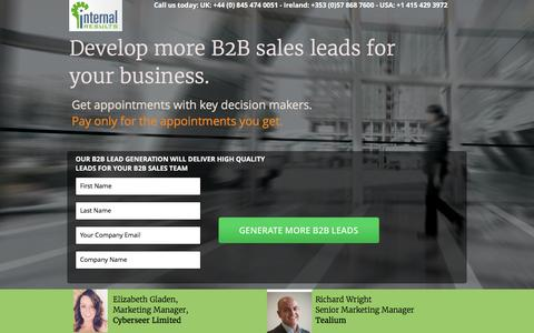 Screenshot of Landing Page internalresults.com - B2B Lead Generation Services for Technology Companies - captured Feb. 16, 2016