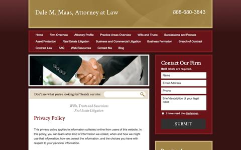 Screenshot of Privacy Page dalemaasatty.com - Privacy Policy | Dale M. Maas, Attorney at Law | - captured Oct. 5, 2014