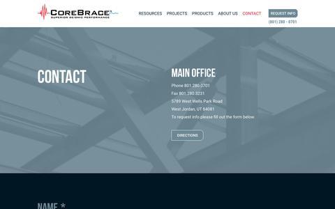 Screenshot of Contact Page corebrace.com - Contact : CoreBrace - captured Dec. 12, 2015