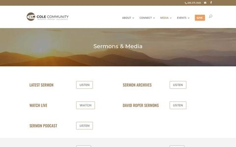 Screenshot of Press Page colecommunity.org - Media | Cole Community Church - captured Nov. 10, 2018