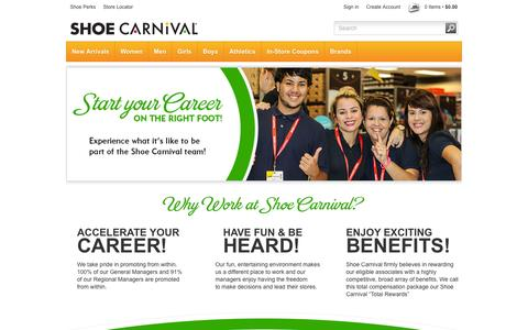 Screenshot of Jobs Page shoecarnival.com - Careers - captured Sept. 19, 2014