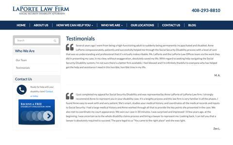Screenshot of Testimonials Page laportelawfirm.com - Testimonials - San Jose, Santa Cruz, Oakland, San Francisco | LaPorte Law Firm - captured Sept. 27, 2018