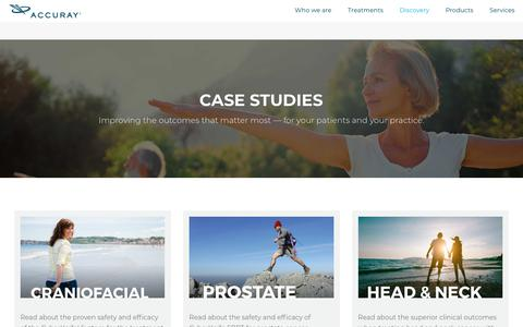 Screenshot of Case Studies Page accuray.com - Accuray Case Studies - captured July 24, 2018