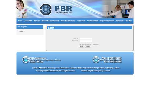 Screenshot of Login Page pbr.ca - PRB - captured Oct. 7, 2016