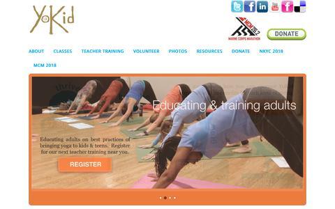 Screenshot of Home Page yokid.org - YoKid | Yoga for kids & teens in Washington DC, Maryland, & Virginia - captured Oct. 20, 2018