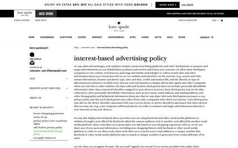 Screenshot of katespade.com - interest-based advertising policy - captured Aug. 31, 2017