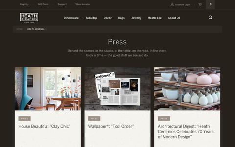 "Screenshot of Press Page heathceramics.com - Heath Journal – Tagged ""Press"" – Heath Ceramics - captured Nov. 4, 2018"