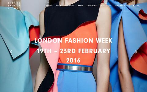 Screenshot of Home Page britishfashioncouncil.com - British Fashion Council - Home - captured Oct. 27, 2015