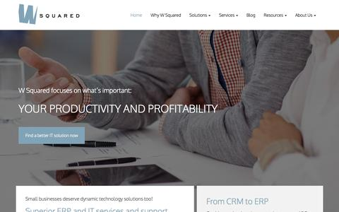 Screenshot of Home Page wsquareddynamics.com - Enterprise Business Solutions, Microsoft Dynamics, ERP and CRM | W Squared - captured Sept. 4, 2015