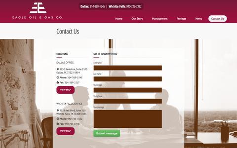 Screenshot of Contact Page eagleog.com - Eagle Oil & Gas : Contact Us - captured Nov. 1, 2014
