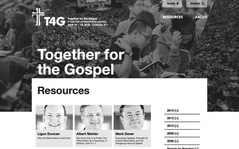 Screenshot of Home Page t4g.org - Together for the Gospel - captured April 16, 2016